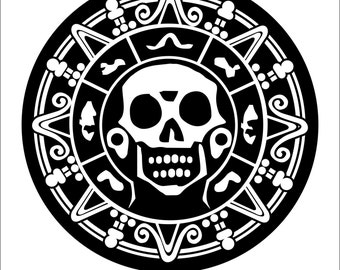 Pirate Skull Medallion decal sticker car, truck, window, lap top - Many Colors