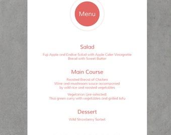 Printable Menu Wedding or Event Circle Design