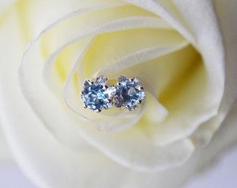 Aquamarine Stud Earrings, Aquamarine Earrings, Faceted 4mm Aquamarine Earrings, Recycled Sterling Silver Stud Earrings, March Birthstone