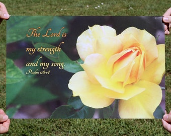 Christian Wall Art Poster 11x17 - Yellow Rose Photo Psalm 118 14 - Religious posters, Scripture posters, Christian posters, Bible wall art