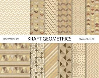 Geometric Digital Paper Pack, Kraft paper, Digital Paper Pack geometric, 12 digital papers - BR 270
