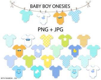 Baby Boy onesie clipart, cliparts, Baby boy, onesies, clip art, clothesline. digital clipart - PNG and JPG - BR 358
