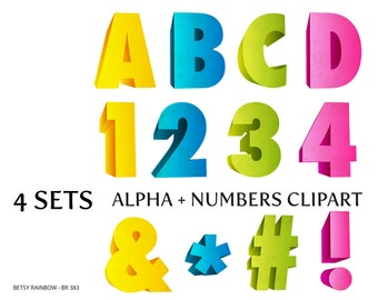 3D grunge letters and numbers, digital letters clipart PNG, ABC, alphabet clip art, number clipart, Instant download, BR 383