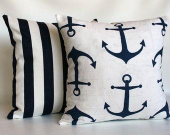 Navy Pillow covers, Navy blue pillows, beach pillows, boys pillows, nautical pillows, navy and white pillows, navy euro sham ZIPPER CLOSURE