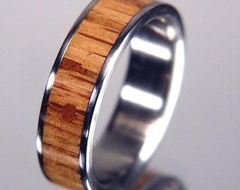 250yr+ Old White Oak Barnwood Titanium Wood Wedding Band or Ring