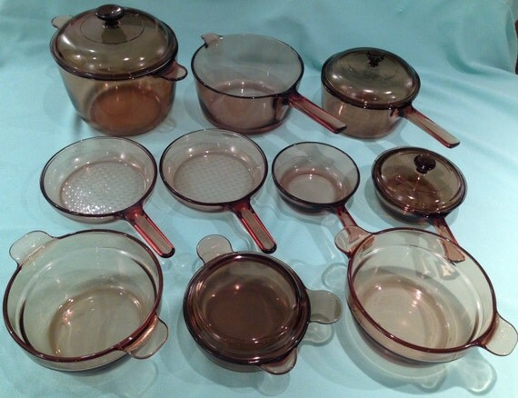 14 Piece Set Of Vintage Vision Corning Glass Cookware Pots