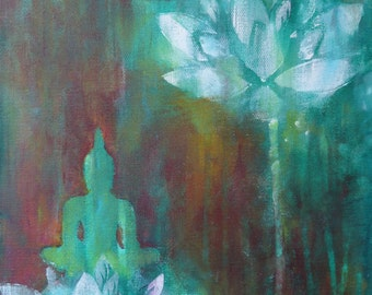 "Buddha Print on Canvas ""Flower of Consciousness"" 16 x 12 "" Turquoise Brown Buddha Lotus Spiritual Art Meditation Fine Art Print on canvas"