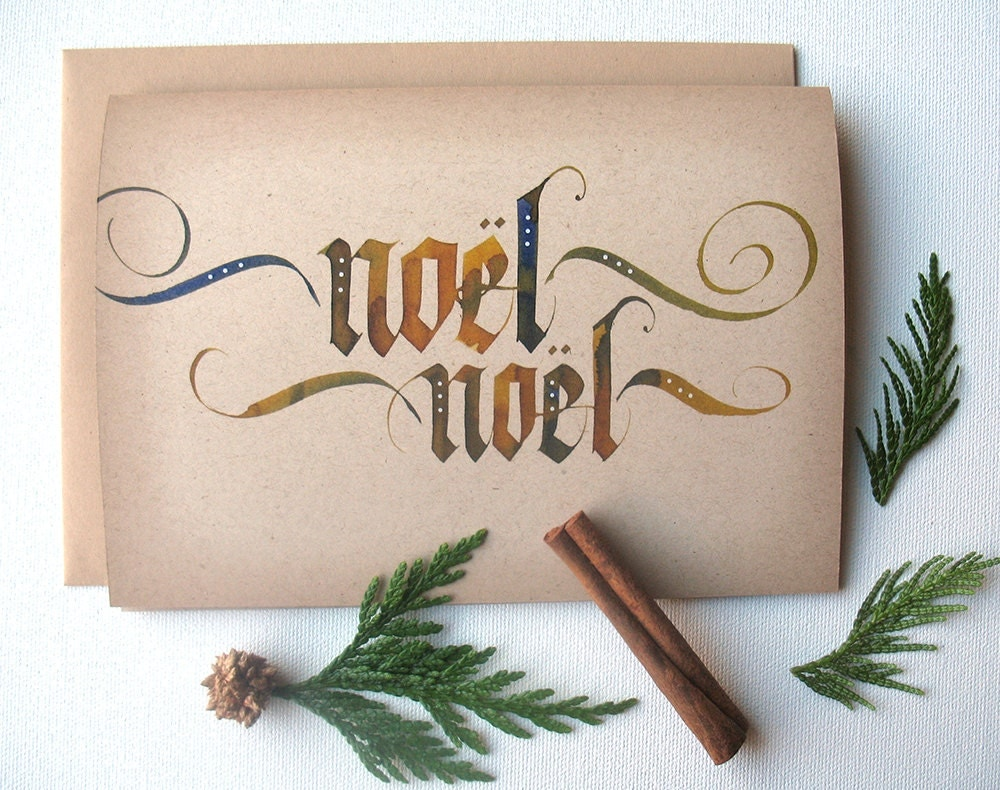 Hand lettered holiday card calligraphy by