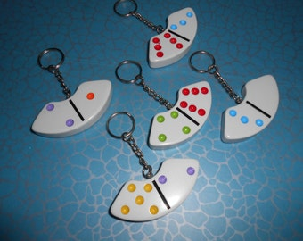 Large DOMINO Quirky shaped KEYRING Curved Keychain 2.5 inchs wide