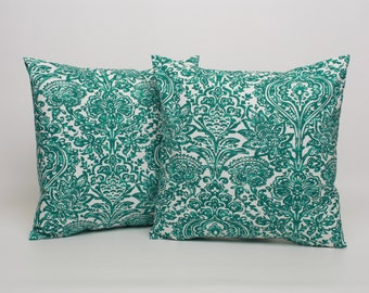 Throw Pillow Cover PAIR in Jade Green, Turquoise Pillow Cushion Cover, 18 x 18 inch Pillow Cover in Turquoise Jade Green Pillow Sham