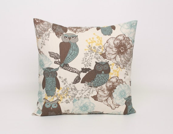 Floral and Owls Pillow Covers Brown Blue by DimensionsHomeDecor