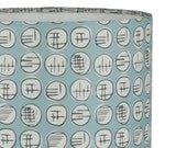 Handmade Lampshade - retro graphic print - chalky blue - 100% cotton