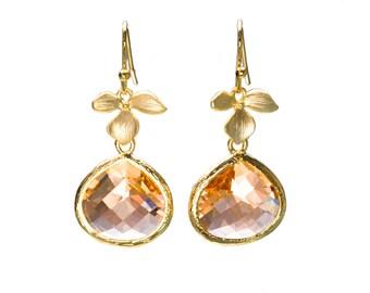 Peach Leaf Earrings, Champagne Crystal, Flower Earrings, Drop Earrings, Dangle Earrings, Wedding Jewelry, Bridesmaid Jewelry
