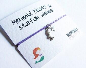 Little Mermaid Bracelet, Mermaid friendship bracelet, Little mermaid wish bracelet, bridesmaid gift, best friend bracelet, leaving gifts