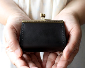 Handmade Black leather bronze coin purse