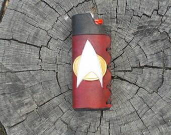 Handmade Startrek Next Generation Inspired Leather lighter cover!