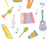 Musical Instruments Clip Art Set-Guitar, maracas, xylophone, saxophone, drum, trumpet, notes, eps, png, jpeg, instant download