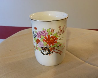 Japanese Ceramic Glass with Floral Design