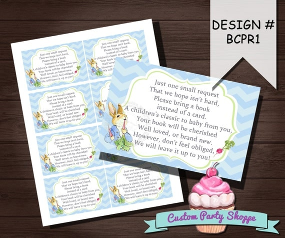 Personalised New Baby Or Birthday Card By Mint Nifty: BABY SHOWER PRINTABLE Bring A Book Card Peter Rabbit Baby