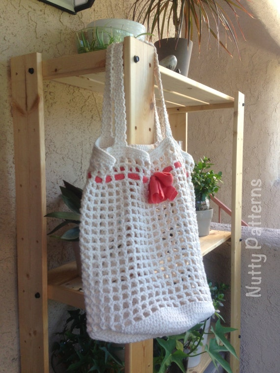 Beginner Crochet Tote Bag Pattern : Crochet Pattern * Eco Tote Bag * Instant download Pattern #443 * Women ...