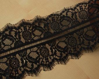 3.3 Yards Width 6.3''(16CM) Fashion High Quality Evening DressTrim French Style Black Chantilly Eyelash Lace Trim