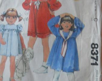McCall's Girls Pattern #8371 Size 2