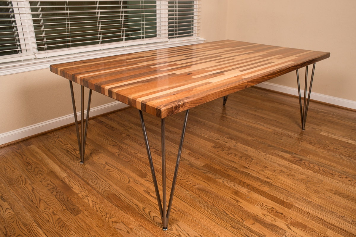 Buy Butcher Block Table Top: Items Similar To NATE Dining Table / Walnut Cherry Maple