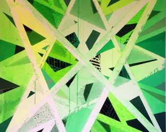 Wall art - Abstract green geometric triangles - LIMITED EDITION of 9
