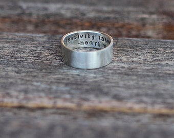 Personalized sterling silver ring with hidden message K008