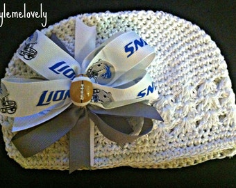 Detroit Lions Baby Girl Boutique Bow Crocheted Hat