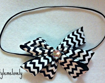 Black and White Chevron Baby Girl Boutique Bow Elastic Headband