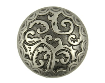 Metal Buttons - Tropical Fern Nickel Silver Metal Shank Buttons - 25mm - 1 inch - 6 pc