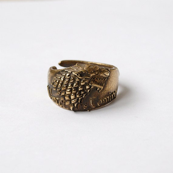 of thrones stark wolf ring jewelry plated brass size 85