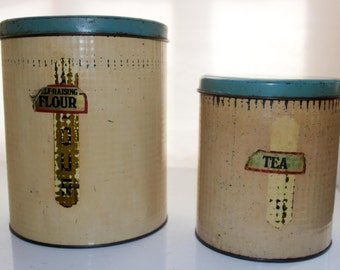 Flour and tea metal canisters