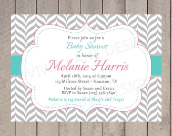Pink and Teal Baby Shower Invitation, Printable, Girl Baby Shower, Chevron, Grey, Digital - 143