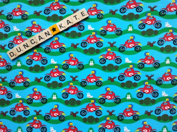 Bike Boy - exclusive to Duncan & Kate Fabrics! Organic cotton stretch jersey knit - 50cm - Euro knit - GOTS certified organic - boys
