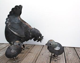 Chicken and chicks metal art sculpture for the garden, bird garden art, 3D sculpture, made in the USA