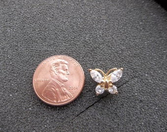 Vintage Sterling Silver 925 Butterfly pendant with clear stones.