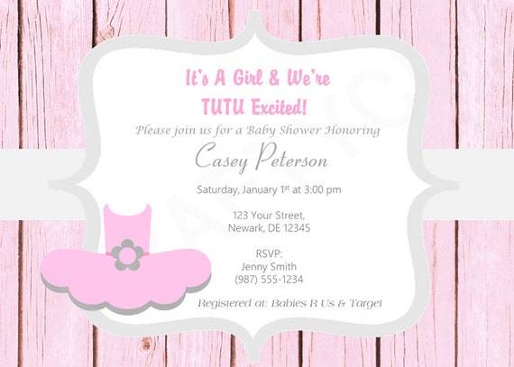 ballerina tutu baby shower invitation tutu cute baby shower invite