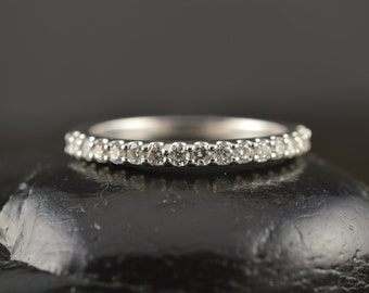 Petite Harper - Diamond Wedding Band in White Gold, Round Brilliant Cut, Shared Prong, 1/2 Eternity Style, Classic Design, Free Shipping