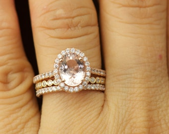 Maria Trio - Morganite Engagement Ring and Diamond Wedding Bands in Rose Gold, Halo, Bezel Set, Shared Prong, Stackiable, Free Shipping