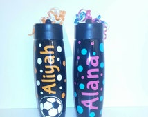 Personalized Stainless Steel Water Bottle w straw-great for baseball, hockey, soccer, softball, football, karate or just with dots for girls