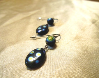 Jet Black AB Spotted Czech Glass Dangle Earrings