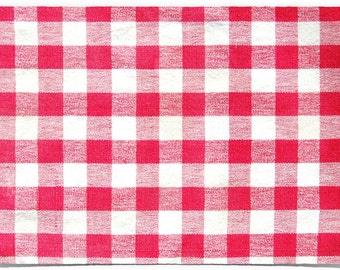 Red-Checked • Gingham Placemat: Reversible Laminated Double-Sided