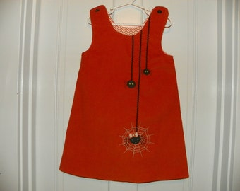 Orange Corduroy Jumper Embellished with a Spiders Embroidery