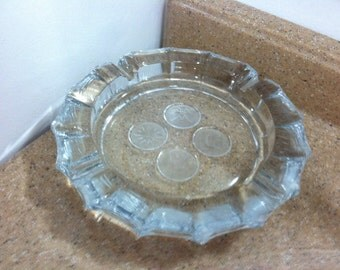 Glass Four Coin Ashtray