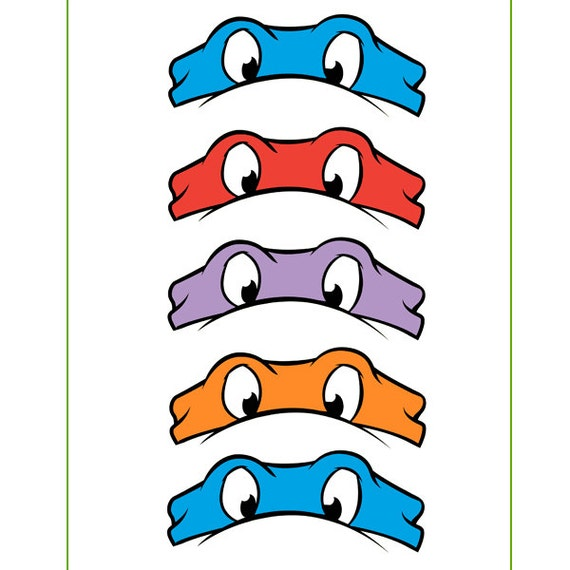 Instant Download Ninja Turtles Eyes For Balloon Stickers