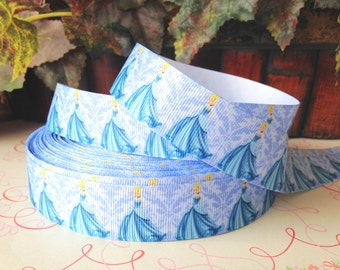 "3 Yards of 1"" Princess Cinderella/ Light Blue Damask  Printed Grosgrain Ribbon"