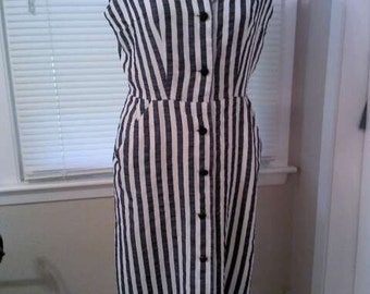 Vintage blue/white striped sleeveless dress