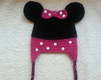 Crochet Minnie Mouse Earflap Hat